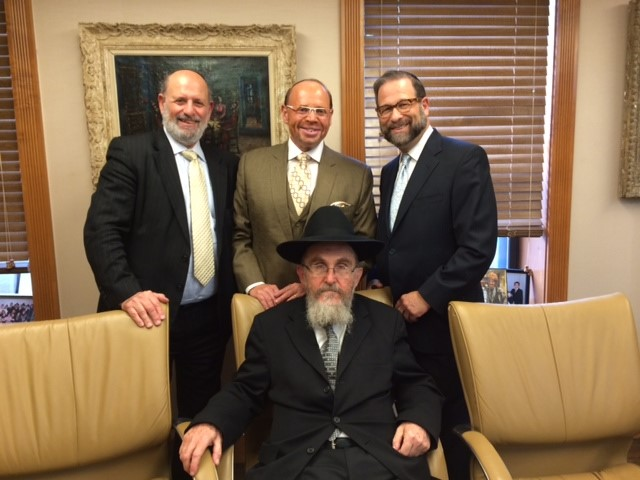 COJO Board (back row): Moshe Zakheim, Larry Speiwak, Leon Goldenberg with (front row) COJO Executive Director Rabbi Pikus