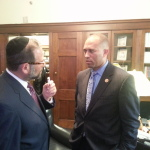 Congressman Hakeem Jeffries being interviewed by Leon Goldenberg