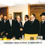 Leon Goldenberg with Assemblyman Steve Cymbrowitz and community members