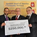 Steve Cymobrowitz presents the Capital Grant to Rabbi Shmuel Lefkowitz of Agudath Israel of America and Leon Goldenberg whom was a Key member of the team which sought to secure these funds for COPE institute.