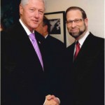 Former US President Bill Clinton meeting with Leon Goldenberg