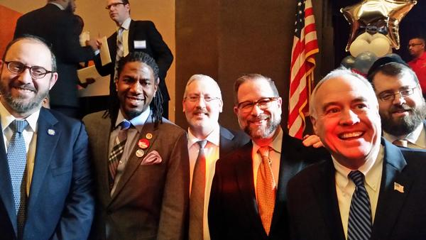 City Council Member Jumaane Williams with State Senator Simcha Felder with NYS Comptroller Scott Stringer and Leon Goldenberg at Rodneyse Bichotte inauguration. Congrats.
